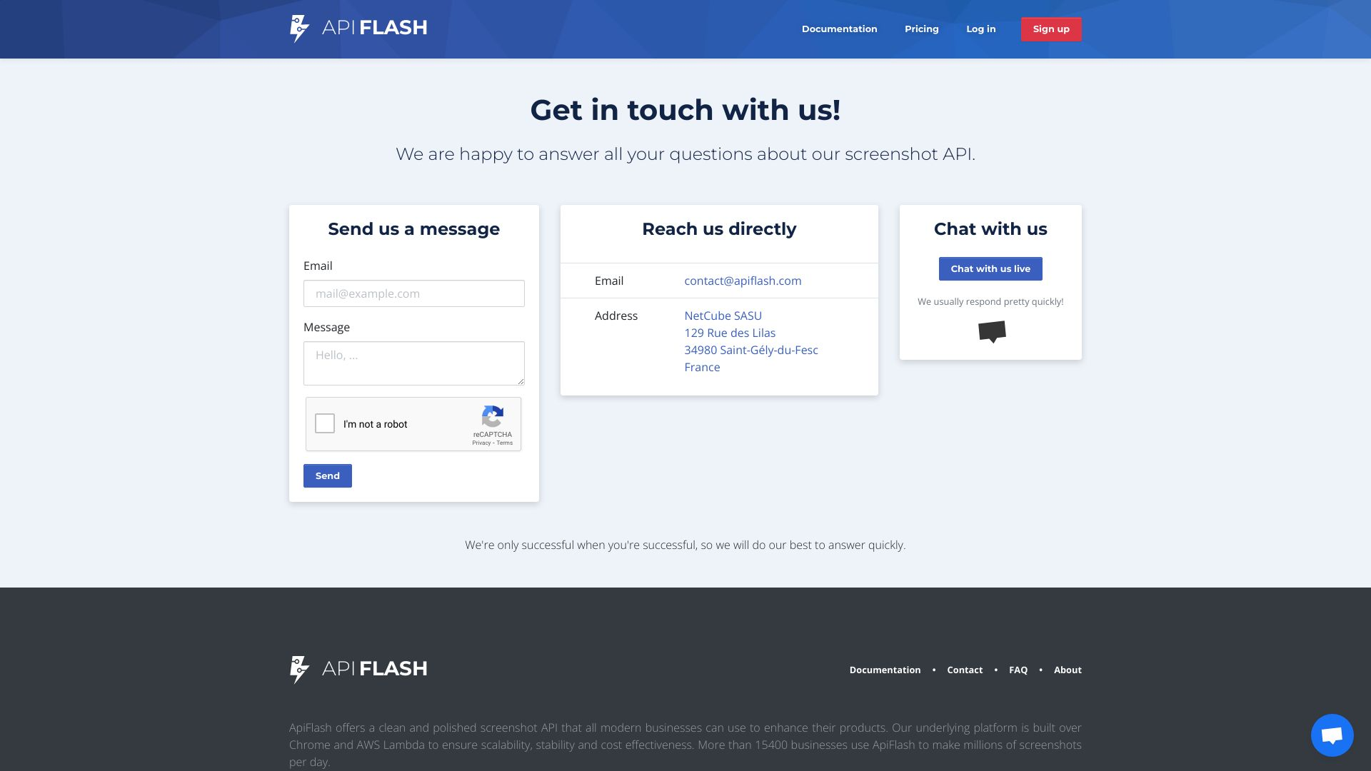 Contact the team behind our URL to image API | ApiFlash